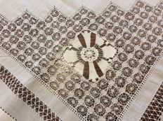 Antique white cotton hand made with open work tea table cloth