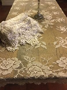 Two beautiful hand crochet tablecloths with beautiful floral and zig-zag motif