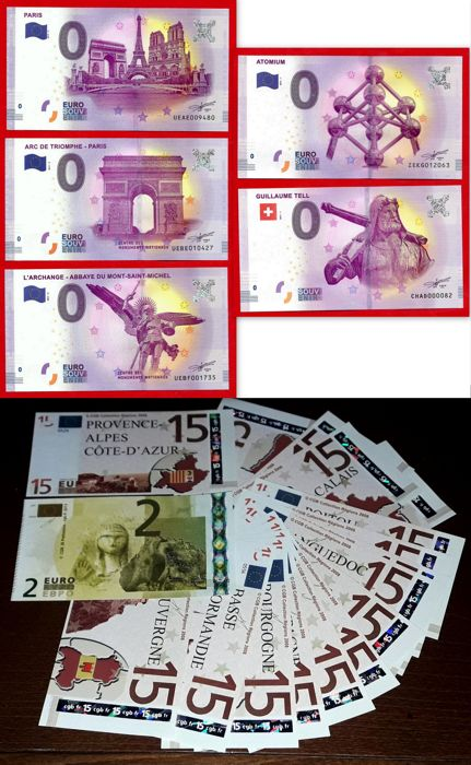 France - Special collectors' collection of 28 banknotes of €0 - €2 - €15, Euro Souvenir - Years 2008-2017 - Cultural and regional