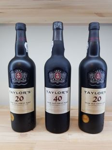 Taylor's Tawny Port: 2x 20 years & 1x 40 years - 3 bottles in total