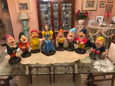 Ceramic Statues of Snow White and 7 Dwarfs, painted