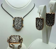 Hand Made  Necklace, Ring & Earring Set, Chain:70cm, Earring: 4cm, Ring 20 mm Total Weight 48.88g.