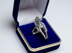 Large silver ring in horse shape - handmade