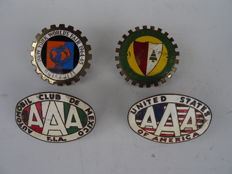 4 old car grille badges - ACL Auto Club du Liban, AAA Automobile Club de Mexico F.I.A. + AAA United States of Americ
