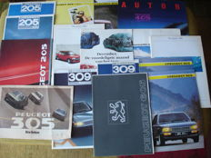 Car brochures Peugeot (16X including 106, 205, 205 GTI, 305, 309, 405, 505, 605)