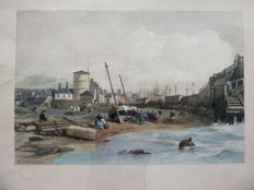 Lithograph after Clarkson Frederick Stanfield RA - 1793-1867 - the back of the old Leith Pier - 19th century