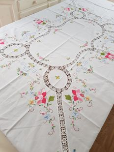 Vintage cross stitched and laced tablecloth. 210 x 160. No reserve price. Reasonable shipping costs.