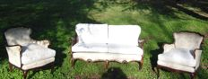 Antique Louis Philippe sofa with two armchairs in solid mahogany - Italy, second half of the 19th century
