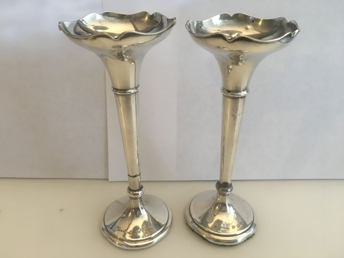 Two Edwardian Solid Silver Bud Stem Vases John William Sons F