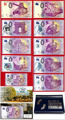 France - Special collector's collection of 11 banknotes of €0, Euro Souvenir with exclusive handstamps + Luxury album - Years 2015-2017