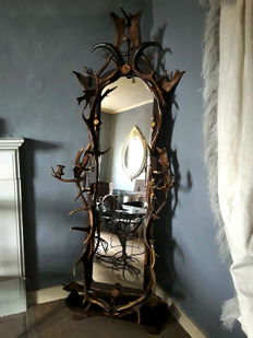 An impressive antler cheval mirror - South Germany or Austria - second half 19th century