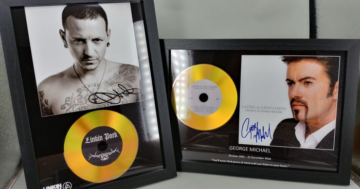 Chester Bennington Linkin Park and George Michael Ladies and Gentlemen Gold Presentation Discs