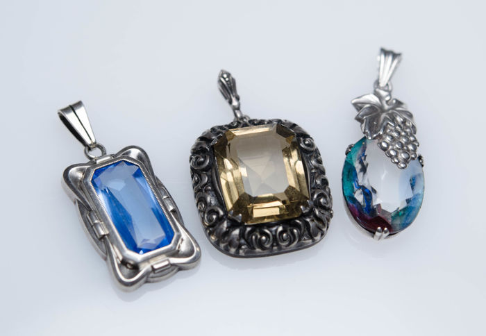 3 large antique silver pendants with stones catawiki 3 large antique silver pendants with stones aloadofball Choice Image