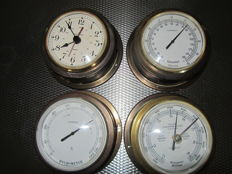 Four maritime items - ship's clock, barometer, hygrometer, thermometer