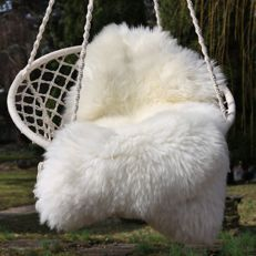 Extra large, thick, natural white sheepskins - Ovis aries - 120 x 75 cm (2)