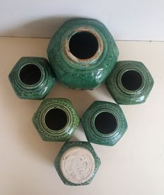 One large and five smaller antique Celadon ginger pots - China - late 19th, early 20th century