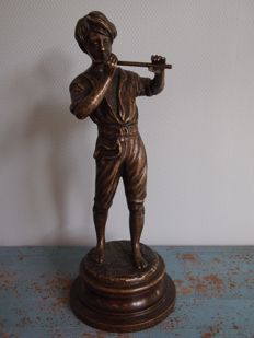 Gorgeous bronze sculpture of a boy playing the flute, by the Italian Fonderia Lancini (signed), Italy, mid 20th century
