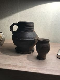 Stoneware jug and ointment pot - (2)