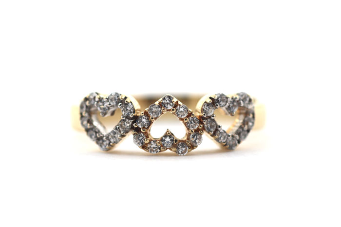 Women's ring, heart, 14 kt / 585, zirconia, yellow gold - 63 (EU)