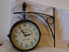 Station clock - Dual dial covered by glass, iron bars for wall mount