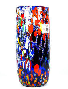 Imperio Rossi (Murano) - Murrine and silver leaf cylinder vase