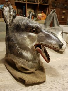 1940/40 paper maché animals mask wolf Theatre Carnival years pre-war