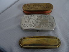 3 tobacco boxes of which 2 copper and 1 supposedly Berlin Silver
