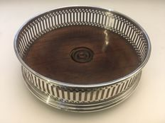 Solid silver wooden base bottle coaster / holder - P. H. Vogel & Co - London - 1985