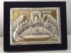 "Silver plaque  with gold plated details, frame and pedestal ""THE LAST SUPPER""/Greece 2nd half of 20th century"