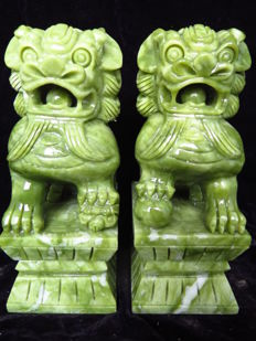 Natural hand-carved beautiful a pair of lions Lantian jade Decoration - 20 x 11 x 8 cm - 5726 g