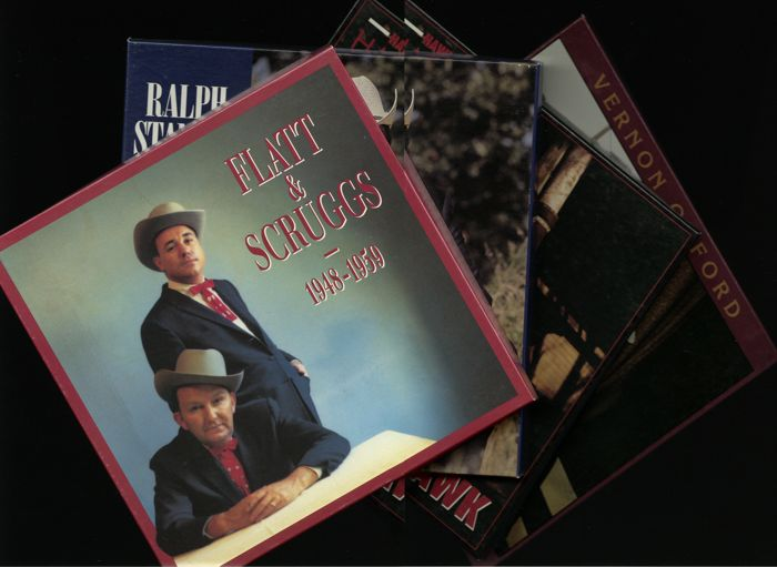 Lot of four rare and in demand BEAR FAMILY RECORDS CD- boxed sets (16 CD's total) - Incl. Flatt & Scruggs, Ralph Stanley, Hawkshaw Hawkins and Vernon Oxford