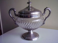 Large Silver and Crystal Sugar Bowl, Edmond Bonnescoeur, Paris 1887 c.
