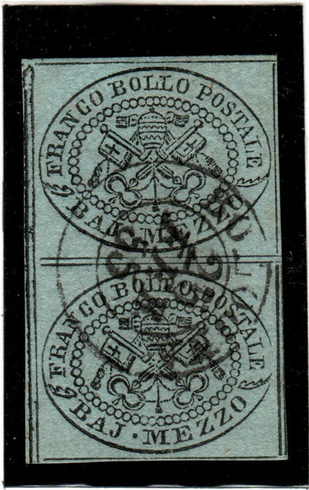 Papal State, 1852 - Papal Coat of Arms - Sassone No.  1-6