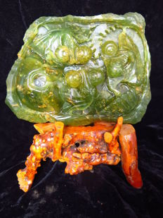 Natural Lantian jade Three Goldfish meaning treasures fill the home, statue + stand - approx. 197x150x41mm - 1553 gm