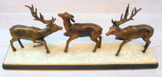 Three deer on a marble and slate plateau, the Netherlands, 1st half of the 20th century