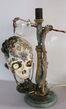 Steampunk tattoo skull on candelabrum - Italy - filament bulb edison