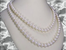 Cultured pearl necklace with 151 pearls, diameter: 7.5-8.3 mm, from Southeast Asia, endless necklace **no reserve price**