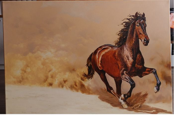 Piotr Moch - Horse - oil painting on canvas - signed - 2005