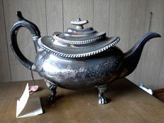 Old Sheffield silver tea pot - Vickers - Victorian period