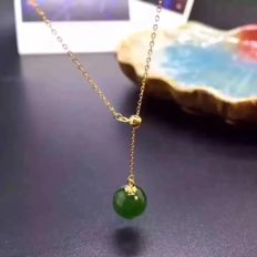 18kt yellow gold necklace (45cm) with Jade  pendant