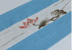 Hand-woven linen cloth made of linen, hand-painted with lotus flowers, table flag is 2, long about 200 cm, width about 30 cm