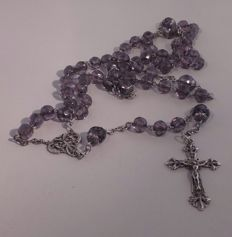 Silver French art nouveau rosary with amethyst prayer beads.