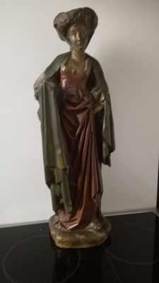 Large polychrome plaster sculpture of a woman - probably France - 2nd half of the 19th century