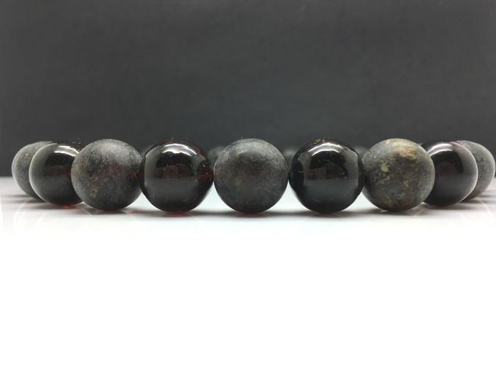 Natural Baltic Amber necklace dark marble shiny&matte colour big round shape beads 81.8g