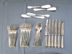 """Wellner - Art Deco """"Eroika"""" cutlery model - 6 people serving cutlery - 28 pieces - 90 patent silver plating"""