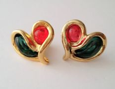 UNGARO Gold Plated Poured Glass Heart Clip Earrings