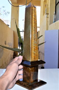 Fine Tiger's Eye Petra Dura Point Obelisk - 36cm - 2155gm
