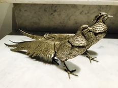 2 silver plated fighting pheasants