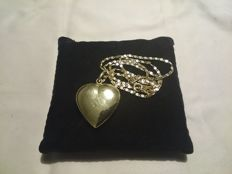 Necklace with heart in 18 kt gold