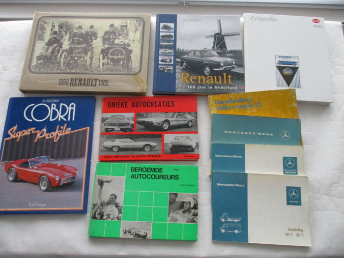 10 car books and instruction booklets; period 1965 - 2006